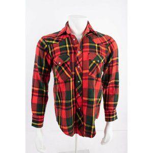Vintage KP Mens Flannel Shirt Sz S Green Red Plaid
